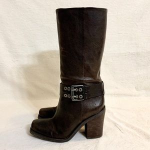 Distressed Nine West Heeled Moto Boots